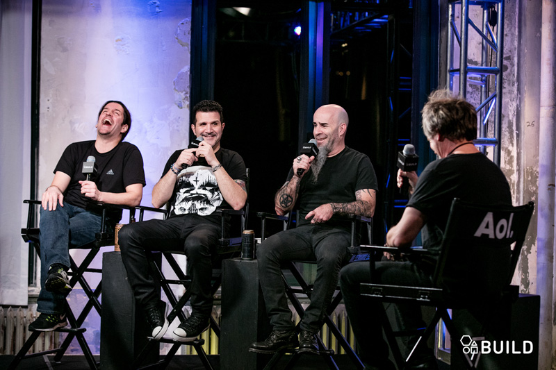 Scott Ian, Frank Bello, Charlie Benante of the band Anthrax and moderator Brad Tolinski visit AOL Hq for Build on Jan. 13 , 2016 in New York. Photos by Gino DePinto, AOL