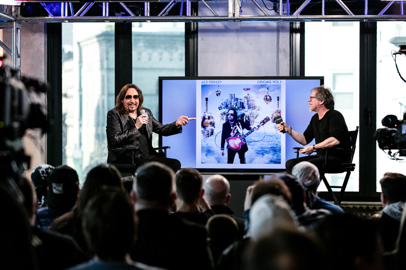 Ace Frehley and moderator Brad Tolinski visit AOL Hq for Build on March 23 , 2016 in New York. Photos by Gino DePinto, AOL